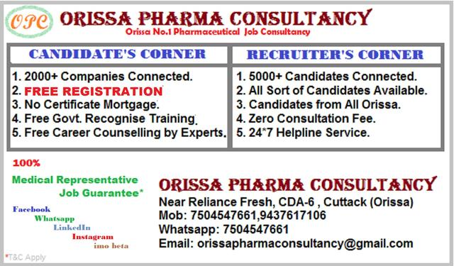 ORISSA PHARMA CONSULTANCY - CDA Sector - 6 - Placement