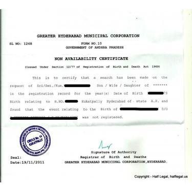 Non Availability Birth Certificate Agents