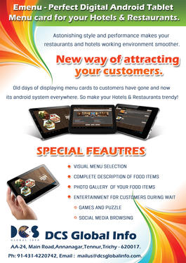 Emenu Android Menu Card For Hotels And Restaurants Ice Cream