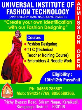 Fashion Designing Cutting Ordination Fashion Technology Course In Karaikudi Madurai Click In