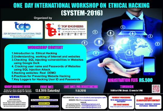 ONE DAY INTERNATIONAL WORKSHOP ON ETHICAL HACKING - Professional