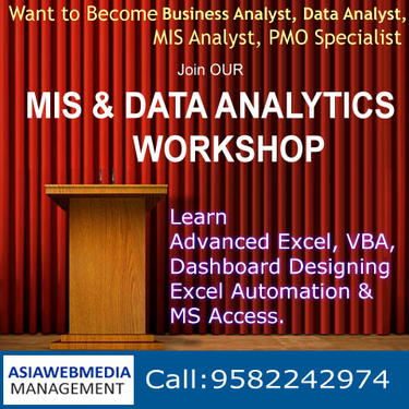 EXCEL VBA MACROS MIS DATA ANALYTICS TRAINING Training - Management
