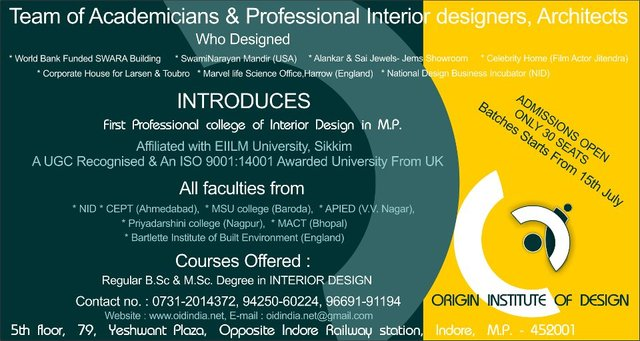 FIRST PROFESSIONAL COLLEGE OF INTERIOR DESIGN IN MP