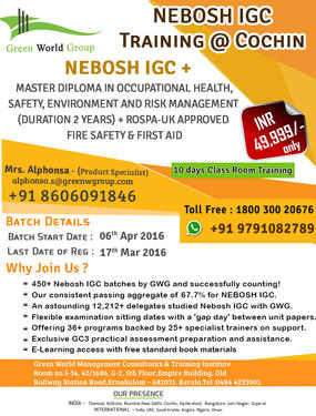 Green World Group Offers Nebosh Igc Course In Cochin Professional