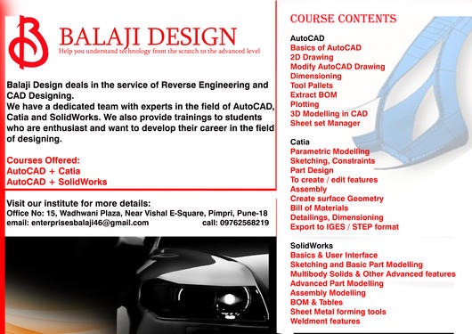 Learn Autocad, Catia And SolidWorks Under One Roof - Teaching Course