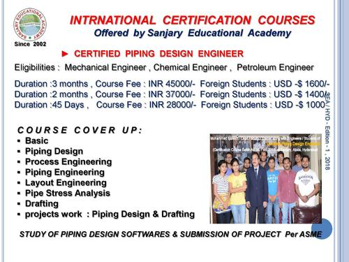 Certified Piping Design Engineer - Teaching Course In Abids