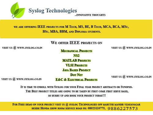 BEST IEEE MECHANICAL PROJECT INSTITUTE IN VIJAYANAGAR