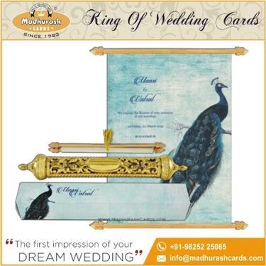 Royal Scroll Wedding Cards | Indian Wedding Invitation Cards