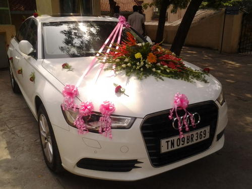 AUDI A BMW BENZ WEDDING CARS BRIDAL CARS FOR RENT - Audi car decoration