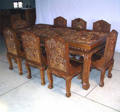 Carved Dining Tables Sets Jodhpur Handicrafts