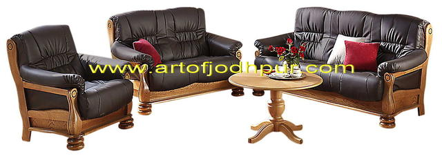 Online Furniture Teak Wood Sofa Set With Center Table