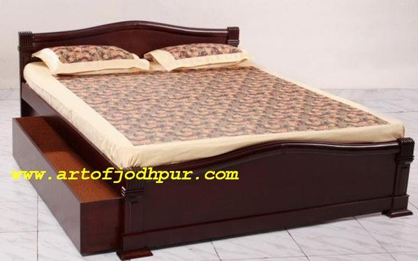 Shopping sheesham wood double beds with storage used bed for Double bed with box design