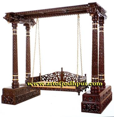 Teak Wood Swing Jhula Jodhpur Handicrafts Furniture Used Sofa For