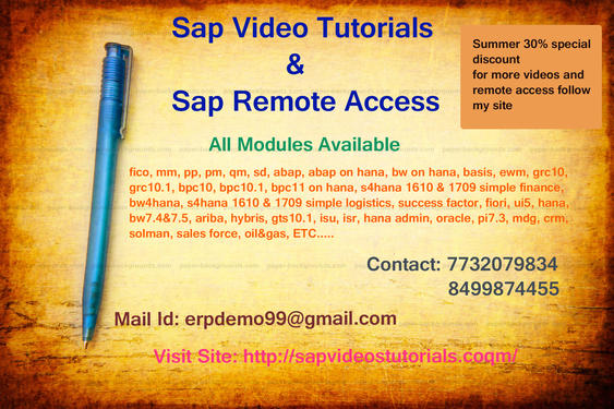 Sap Abap On Hana Online Remote Access - Software Training