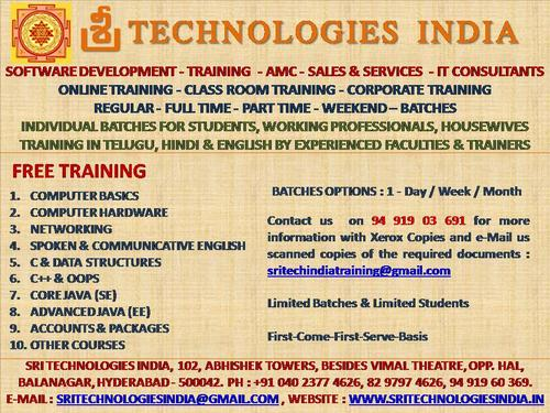 Free Training - Computer Courses - Balanagar - Hyderabad - Basic