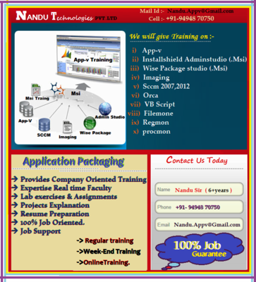 Appv & Msi Packaging Training Sccm Act Uat Testing - Software