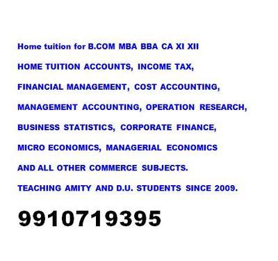 CLASS XI XII ACCOUNTS BUSINESS ECONOMICS BBA HOME TUITION