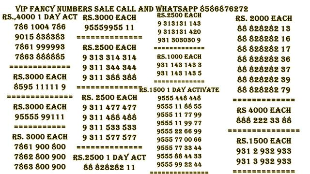 Vip Sim Numbers Big Offer Whatsapp 8586876272 - Adventure Tour